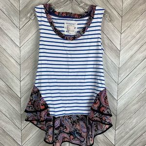 Anthropologie postage stamp blue stripe ruffle top